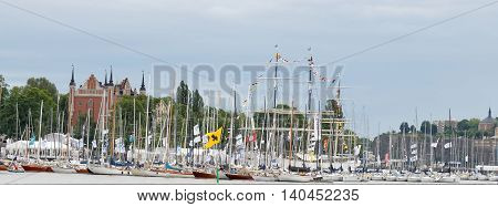 STOCKHOLM SWEDEN - JUL 02 2016: Lots of sail ships in in the central Stockholm. July 02 2016 in Stockholm Sweden
