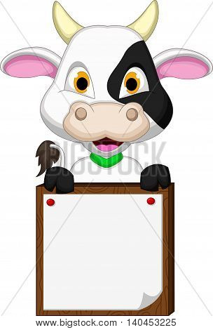 baby cow cartoon posing with blank sign