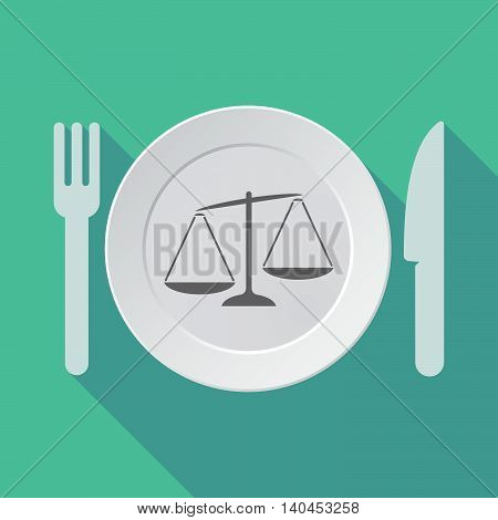 Long Shadow Tableware Vector Illustration With  An Unbalanced Weight Scale