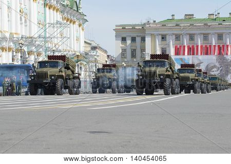 SAINT PETERSBURG, RUSSIA - MAY 05, 2015: A column of reactive multiple rocket launchers BM-21-1