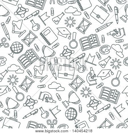 Black lines seamless pattern with school supplies. Textures, backgrounds and templates for promotional materials and fabrics. Cartoon flat vector illustration. Objects isolated on a white background.