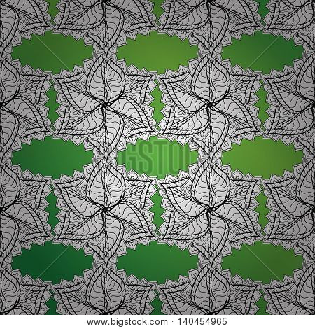 Vector texture with abstract white strape flowers on green gradient background.