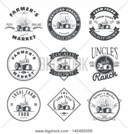 Set of retro farm fresh labels, badges and design elements. Vector illustration