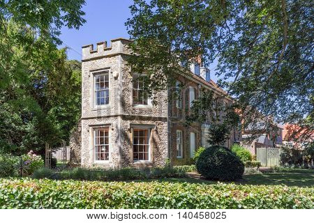 Bury St Edmunds/UK. 18th July 2016. One of many attractive properties as part of the Abbey Gardens estate in Bury St Edmunds.