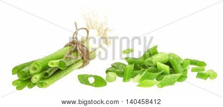 Cut green onion on the white background. Chives.