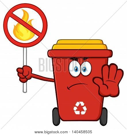 Winking Red Recycle Bin Cartoon Mascot Character Holding A Broom And Giving A Thumb Up