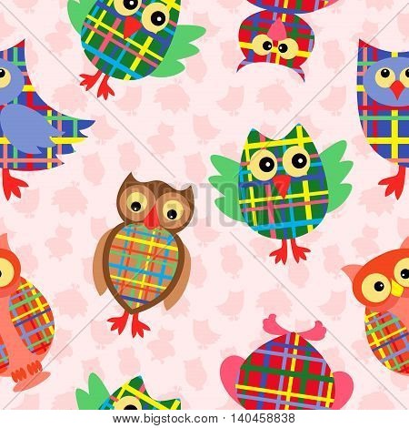 Likable colourful checkered owls on the pink background with many stylized simple owls seamless vector pattern