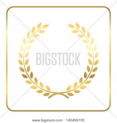 Gold laurel wreath. Symbol of victory and achievement. Design element for decoration of medal award coat of arms or anniversary logo. Golden leaf silhouette on white background. Vector illustration.