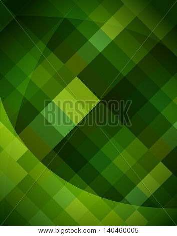Abstract triangle and rectangle shape light to dark green color mosaic background. EPS10 vector file