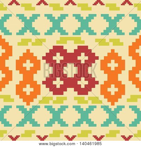 Seamless knitted retro pattern. Elegant geometric ornament of stair step elements in folk style. Beautiful graphic print in vintage colors. Vector illustration for fashion design