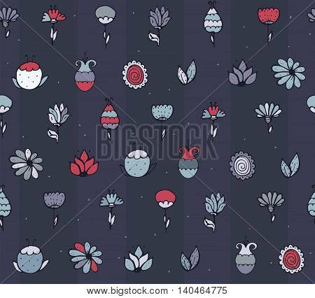 Seamless stylish vector texture with colorful doodle flowers simple handdrawn on dark blue background. Pattern drawn with brush and ink by hand have imperfections can be used for print fabric.