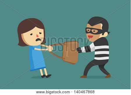 Bandit snatching bag of woman. This illustration about crime and violence.
