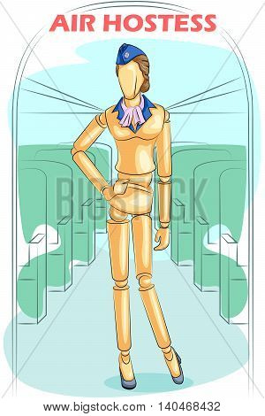 Wooden human mannequin Air Hostess in flight. Vector illustration