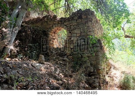 Ruined house in Nahal Amud National park Upper Galilee in Israel.
