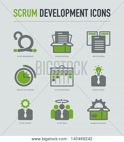 Scrum development methodology icons on light grey background