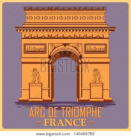 Vintage poster of Arc De Triomphe in Paris, famous monument of France. Vector illustration