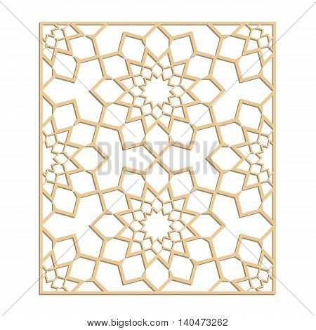 Eastern panel for laser cutting. Vector oriental lasercut template.