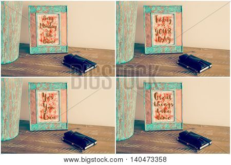 Photo Collage Of Vintage Photo Frames With Motivational Messages
