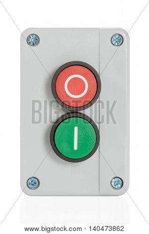 Box with two buttons with red and green front view isolated on white background