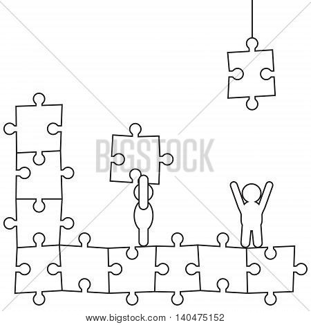 Two doodle black manikins make puzzle picture
