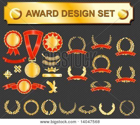 award design set - medals, badges and laurels