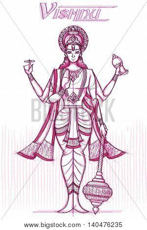 Indian God Vishnu in sketchy look. Vector illustration