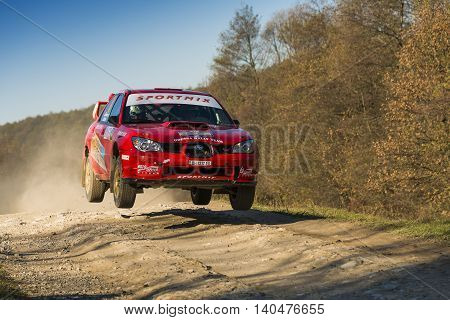 Lviv Ukraine - November 1 2015: Oleg Sobolew's Subaru Impreza WRX STI competes at the annual Rally Galicia