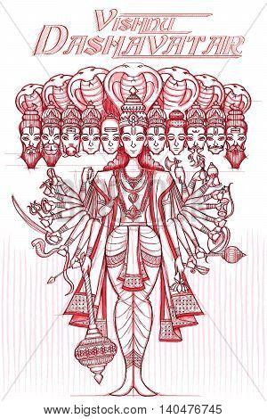 Indian God Vishnu Dashavatar in sketchy look. Vector illustration