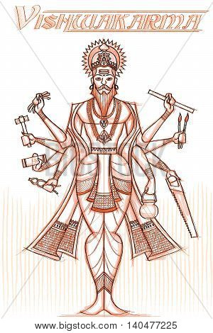 Indian God Vishwakarma in sketchy look. Vector illustration