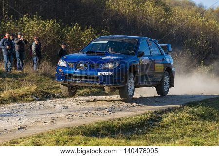 Lviv Ukraine - November 1 2015: Alexander Kozlov's Subaru Impreza WRX STI competes at the annual Rally Galicia