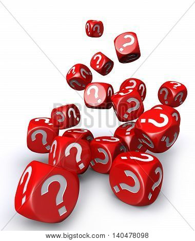 3D illustration of Red question mark dices falling down on white background