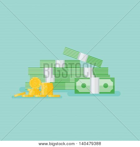 Stacked pile of cash with gold coins. Heap of money pack. Flat style vector illustration.