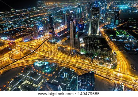 Dubai, UAE - January 06, 2012: Sheikh Zayed Road night view from Burj Kalifa