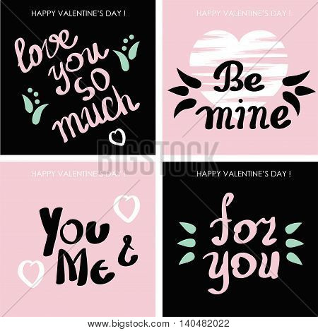 vector set of cards for Valentine's day or wedding. Handwritten text hand brush lettering.