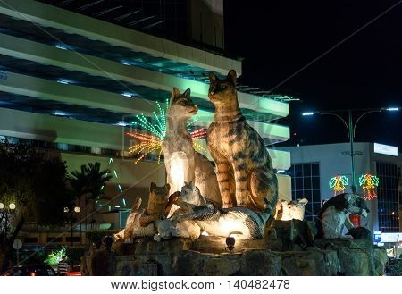 Cats Monument At Center Of Kuching At Night