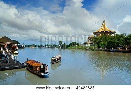Traditional Boats On Sarawak River In Kuching City