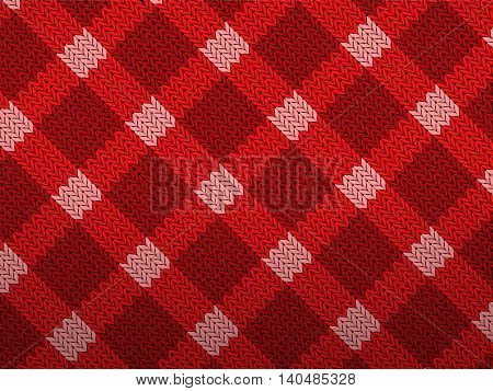 Red knitted pattern background texture. Vector illustration.