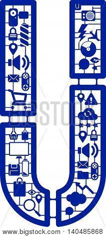 Assemble icon model kit form the font -U