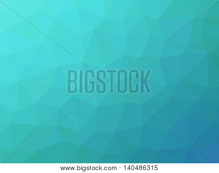 Abstract turquoise teal blue gradient low polygon shaped background.