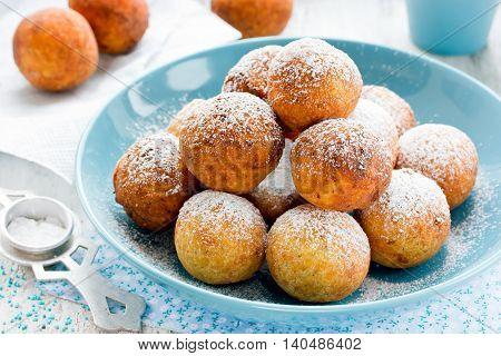 Christmas treats donuts with sugar powder selective focus