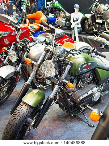 Retro Motorcycles At Motor Show