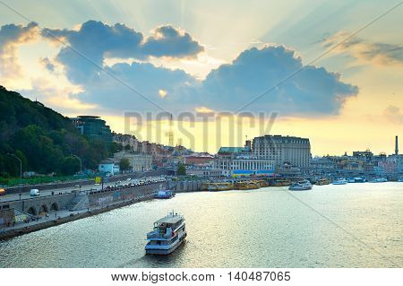Kiev Cityscape At Sunset, Ukraine