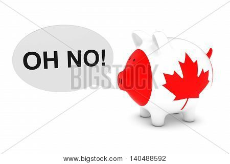 Canada Flag Piggy Bank With Oh No! Text Speech Bubble 3D Illustration