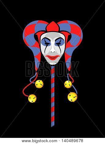 vector illustration of joker mask on a black background playing card poster