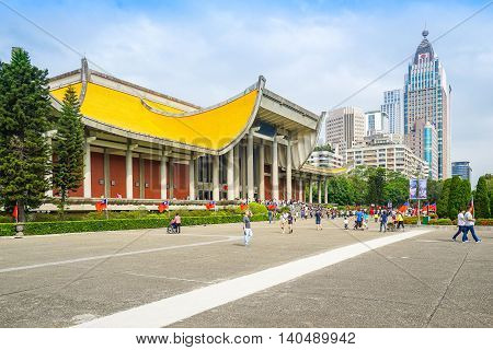 Taipei Taiwan - October 25 2015: The National Sun Yat-sen Memorial Hall is located in Xinyi District Taipei Taiwan. It is a memorial to the Republic of China's National Father Dr. Sun Yat-sen.