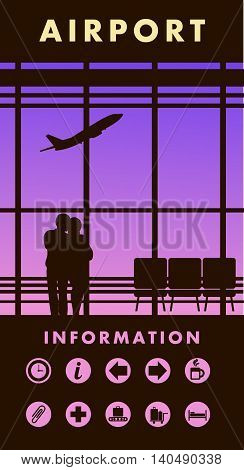 vector illustration of the airport building waiting room large picture window people silhouettes mourners vertical poster