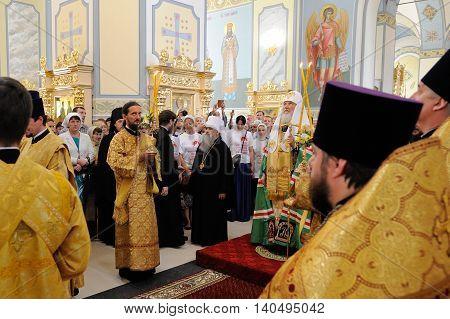Orel Russia - July 28 2016: Russia baptism anniversary Divine Liturgy. Bishops in Smolenskaya church