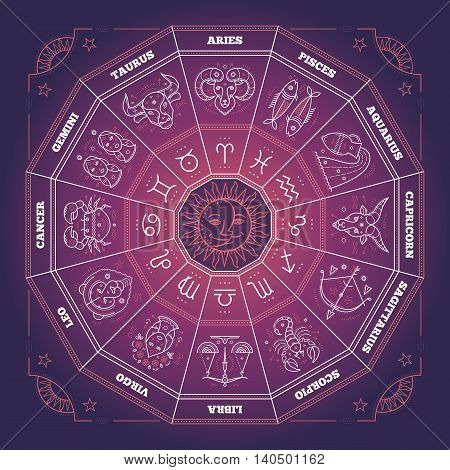 Zodiac circle with horoscope signs. Thin line vector design. Astrology symbols and mystic signs.