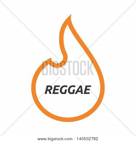 Isolated  Line Art Flame With    The Text Reggae