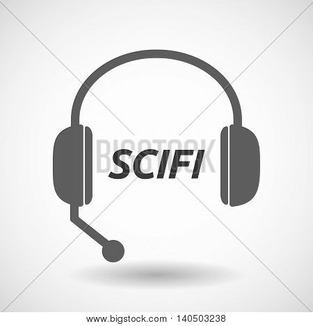 Isolated  Headset Icon With    The Text Scifi